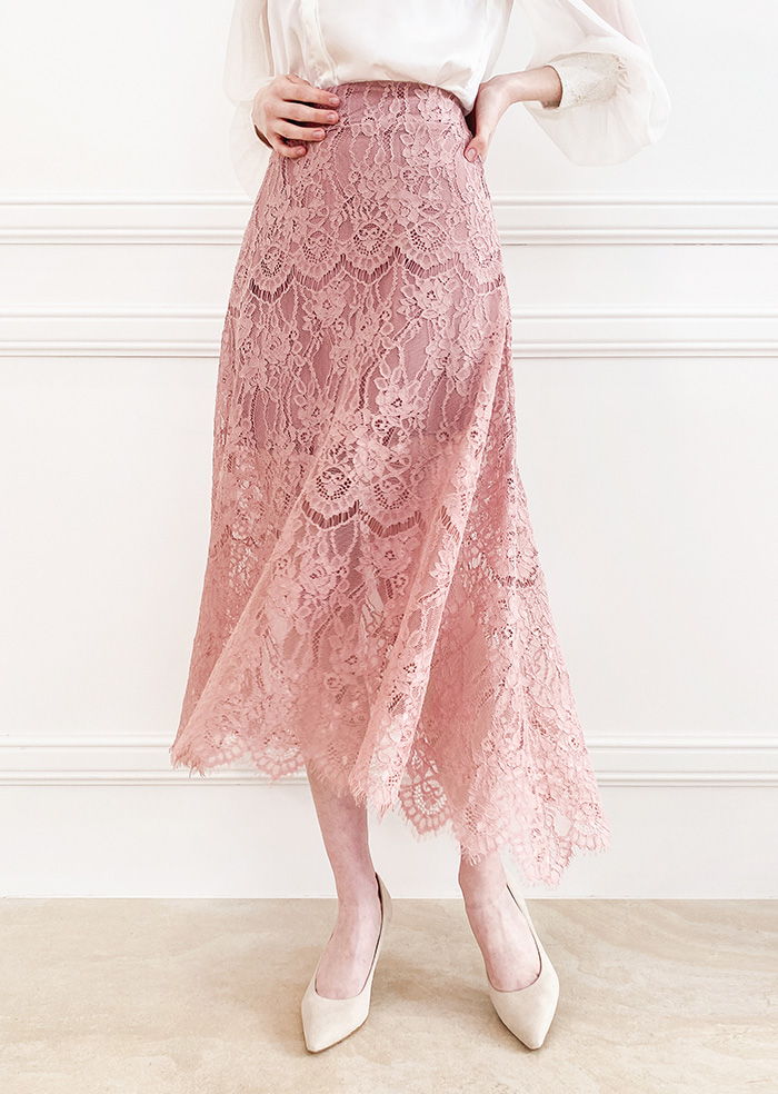 Anna Lace Flare Skirt (Pink)